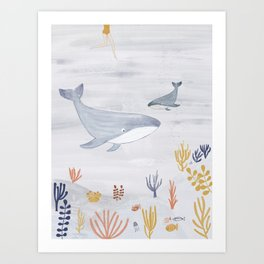 Under the Ocean with Whales Art Print