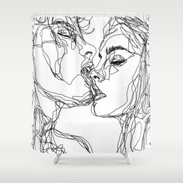 kiss more often (B & W) Shower Curtain