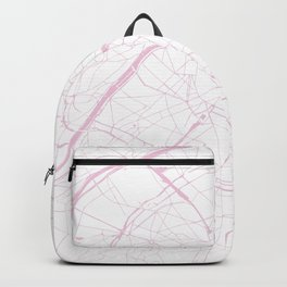 Paris France Minimal Street Map - Pretty Pink and White Backpack
