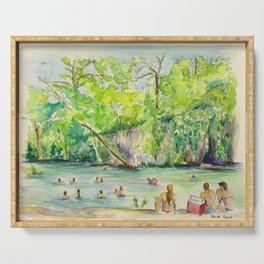 Krause Springs - historic Texas natural springs swimming hole Serving Tray