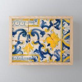 Portuguese azulejos, city of Ericeira Framed Mini Art Print