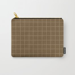 Brown with Tan Grid Carry-All Pouch
