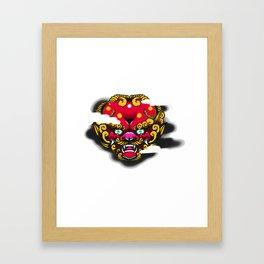 Red Foo Dog Framed Art Print