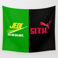 jedi Wall Tapestries featuring JEDI VS DART VADER by BeautyArtGalery
