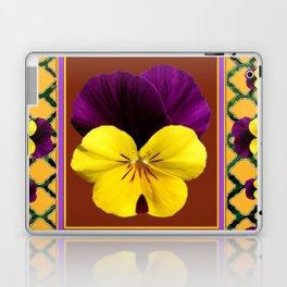 MAROON PURPLE & YELLOW SPRING PANSIES  GARDEN Laptop & iPad Skin