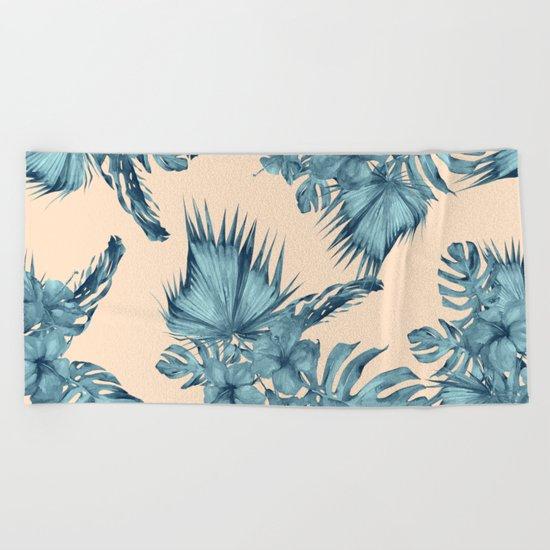Island Retreat Hibiscus Palm Pastel Coral Teal Blue Beach Towel