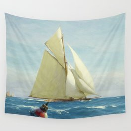 Vintage Sailing Sloop Yacht Painting (1910) Wall Tapestry