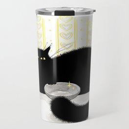 Hungry Cat Graphic Ink Sketch  Pet Animal Travel Mug
