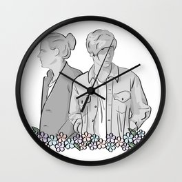 Larry Stylinson - black and white Wall Clock