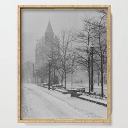 Toronto Flatiron Building in Winter Serving Tray