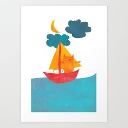I Set Sea Under the Moonlight - A Cat and Boat and Moon. Art Print