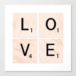 LOVE Scrabble Tiles on Custom Vector Wood Background Canvas Print