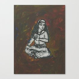 Girl Sits with Tea Canvas Print