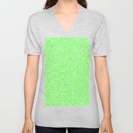 Spacey Melange - White and Neon Green Unisex V-Neck