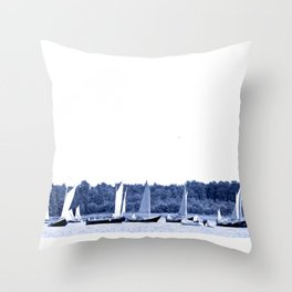 Dutch sailing boats in Delft Blue colors Throw Pillow