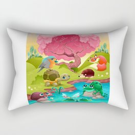 Group of cute animals in the countryside Rectangular Pillow