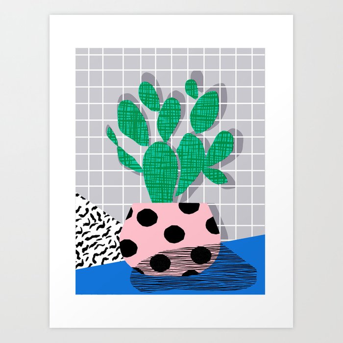 Iffy - cactus desert palm springs socal memphis hipster neon art print abstract grid pattern plant Art Print