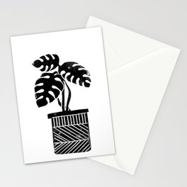 Linocut cheese plant monstera tropical leaf lino print black and white illustration art home dorm  Stationery Cards