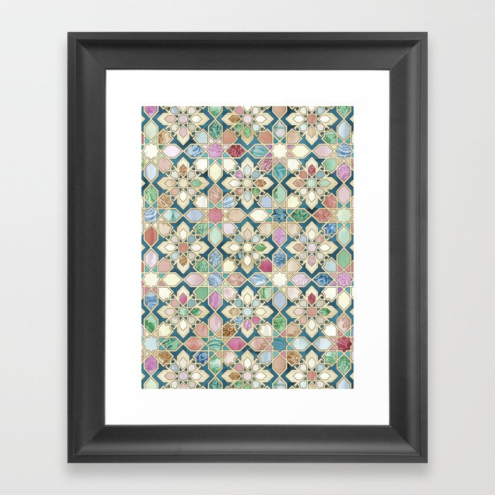 Muted Moroccan Mosaic Tiles Gerahmter Kunstdruck