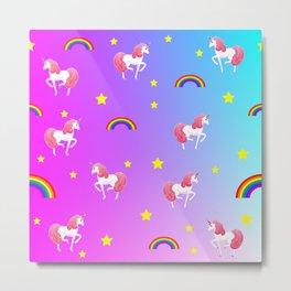 rainbows and unicorns pattern Metal Print