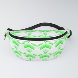 Pastel pattern of green hearts and flowers on a white background. Fanny Pack