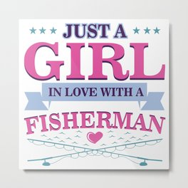 Fishing Couples Love Angling Fishermen Fish Gift Metal Print
