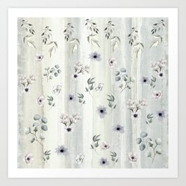 Winter Watercolor Flowers and Leaves Art Print