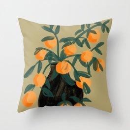 Oranges in vase No. 07 Throw Pillow