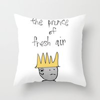 fresh prince Throw Pillows featuring the prince of fresh air by thunderbloke!