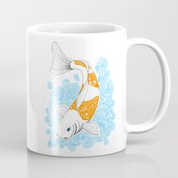 koi fish Mugs featuring Koi fish  by Art & Be