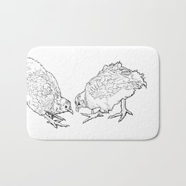 Two Chickens Pecking - Pen and Ink Bath Mat