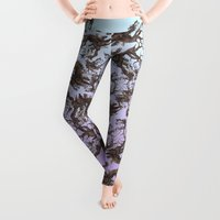 pen Leggings featuring ANCIENT PINE SNAG VINTAGE PEN DRAWING by Alpine Seaside Landscapes