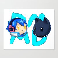 dmmd Canvas Prints featuring DMMD- chibi Aoba and Ren by prpldragon