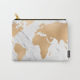 Marble World Map Copper Bronze Carry-All Pouch