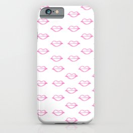 Trendy hand painted watercolor pink  cool lips iPhone Case