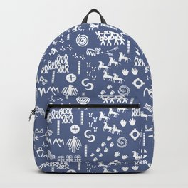 Peoples Story - White on Blue Backpack