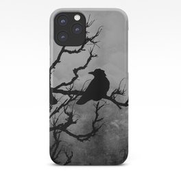 Dramatic Crow Birds Raven on Branch Stormy Sky Home Decor Wall Art A526 iPhone Case