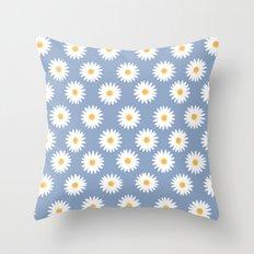 Blue daisy pattern Throw Pillow