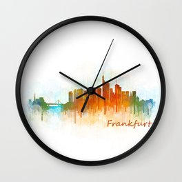 Frankfurt am Main, City Cityscape Skyline watercolor art v3 Wall Clock