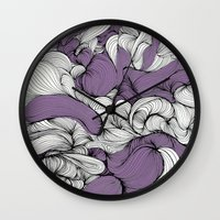 blankets Wall Clocks featuring Lavender Fabric by DuckyB