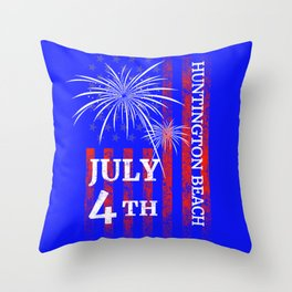 Huntington Beach 4th of July Independence Day Throw Pillow