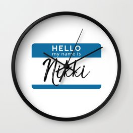 Nikki Personalized Name Tag Woman Girl First Last Name Birthday Wall Clock