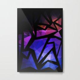 Abstract print of triangles polygon print. Bright dark design colors Metal Print
