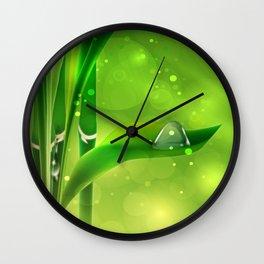 Bambus mit Wassertropfen Wall Clock