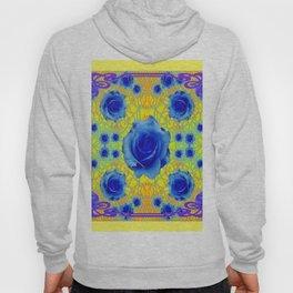 Yellow Gold Art Noveau Blue Roses Art Hoody