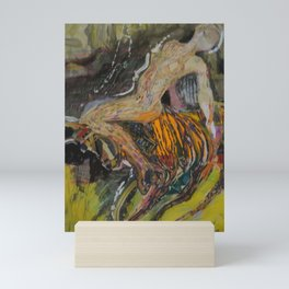 woman on the bull Mini Art Print
