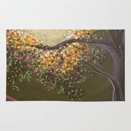 Moonlight Dance, tree and light art, moonlight, river valley Rug
