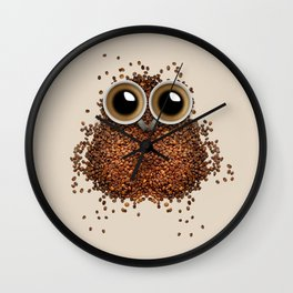Coffee beans and cups forming owl Wall Clock
