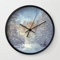 blanket Wall Clocks featuring White Blanket by Dirk Wuestenhagen Imagery