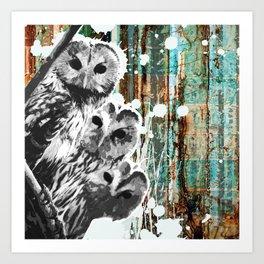 Rusty Owls in the Snow Art Print